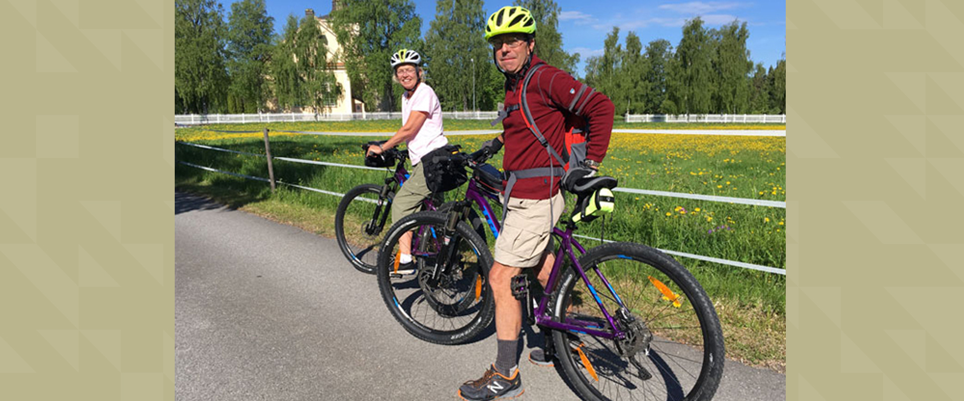 A woman and a man on bikes