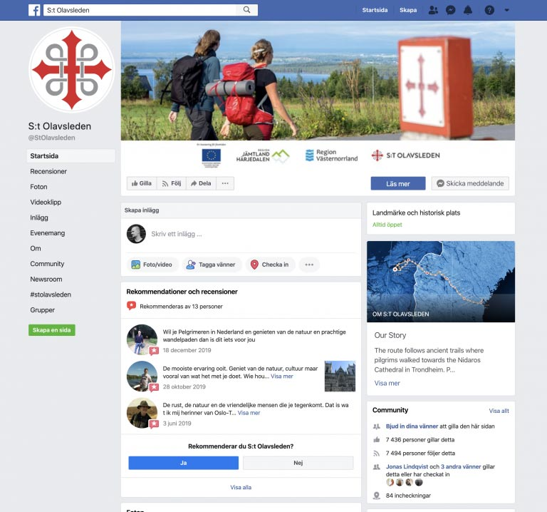 Screenshot of St. Olavsleden Facebook page
