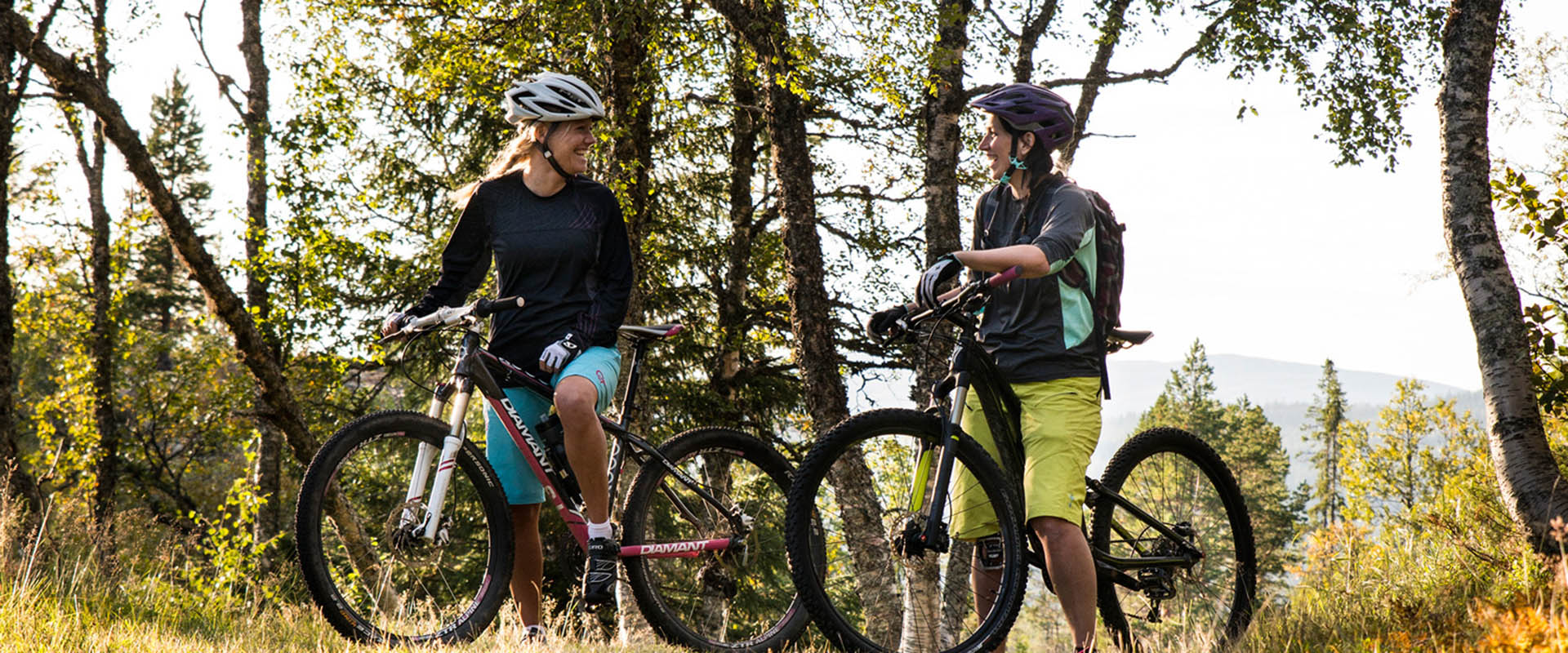 Two women with bicycles stand and smile at each other.