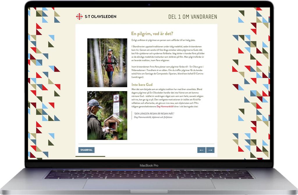 A laptop with a screen shot of stolavsleden.com